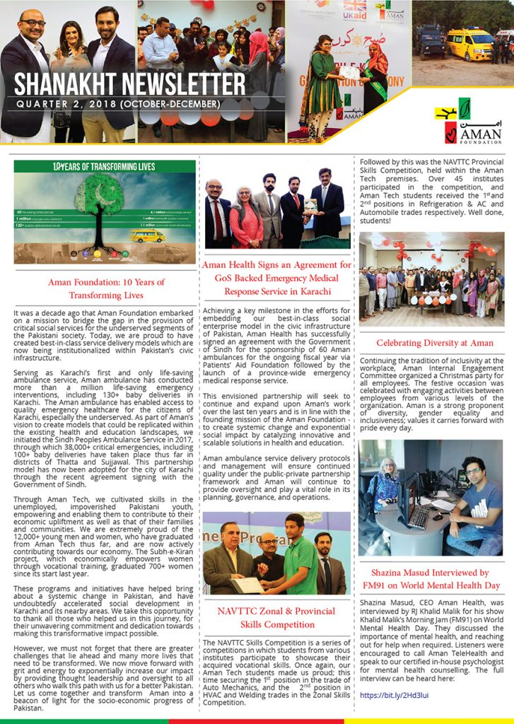 Shanakht Newsletter (October – December 2018)