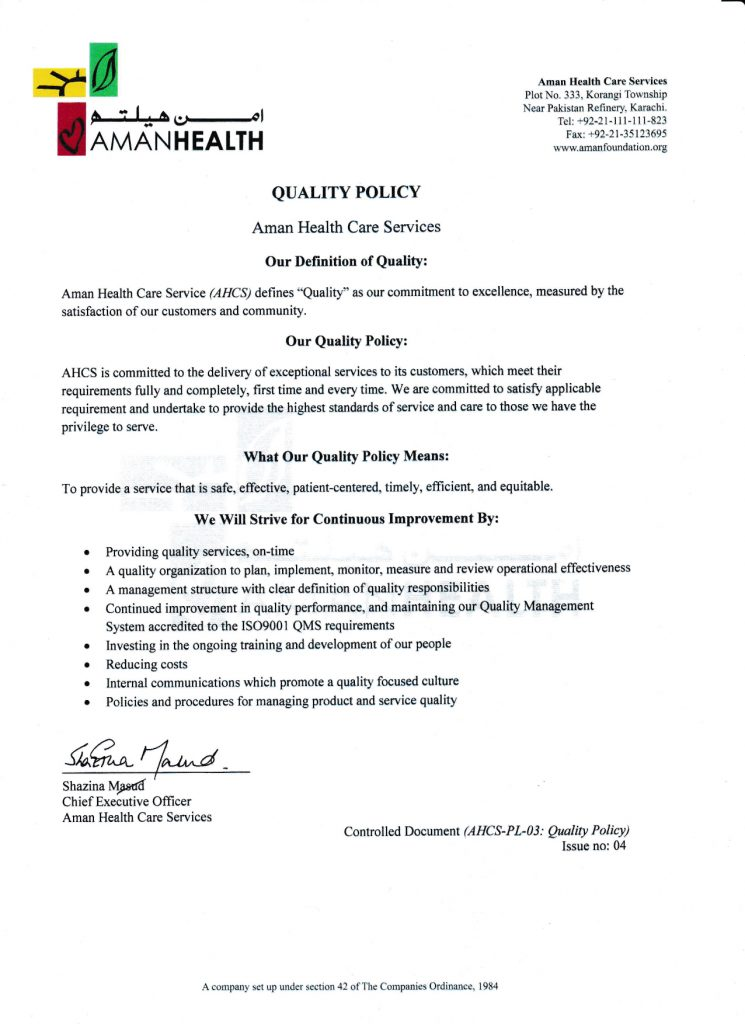 Aman Healthcare Services Quality Policy