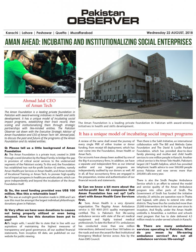 Aman ahead: Incubating and institutionalizing social enterprises