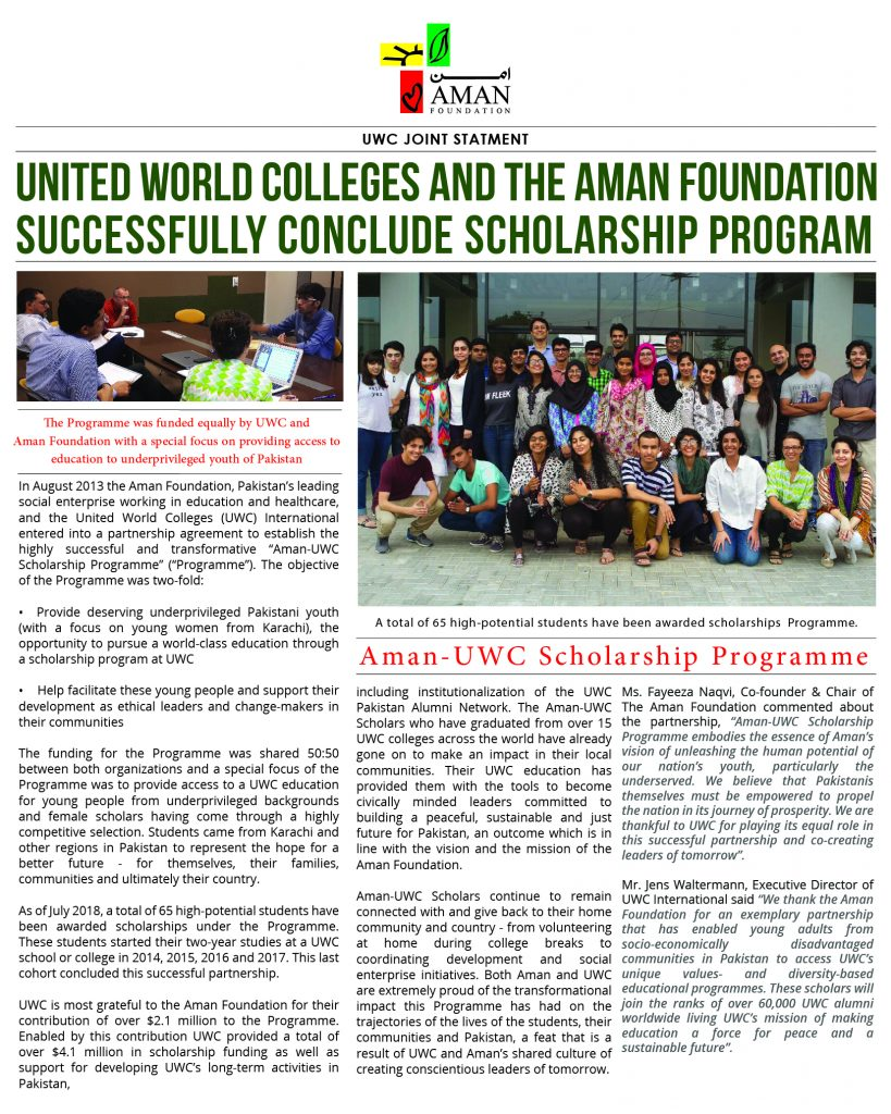 United World Colleges and the Aman Foundation successfully conclude Scholarship Program